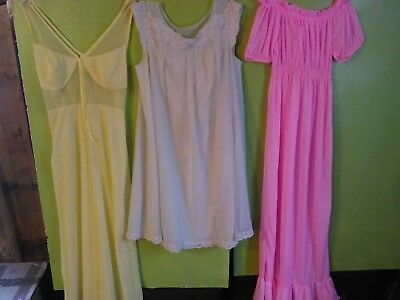3 Vintage nightgowns pink  yellow and green size medium no brand tags100% nylon