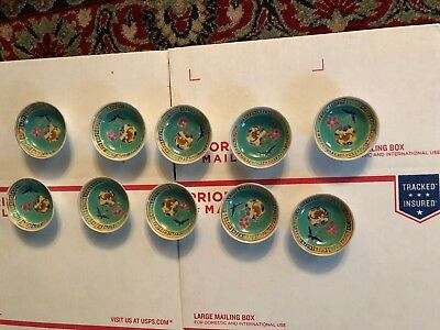 A Set Of 10 Vintage/ Antique Chinese Famille Rose Green Small Sauce Bowls