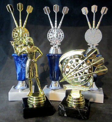 1x Dart Turnier-Paket, 3er-Serie + Beste Dame + High Finish, gold/silber/resin