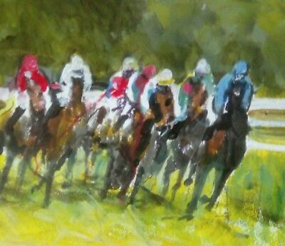 Original Acrylic Hand Painted Horse Racing Action on quality paper Signed COA