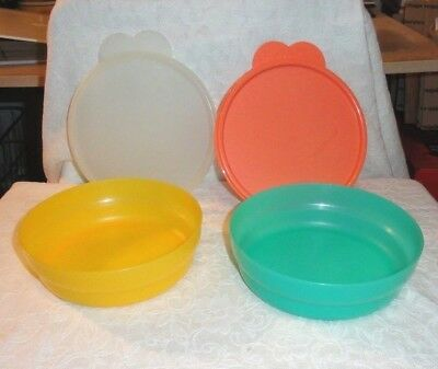 Lot Of 2 Tupperware Cereal Bowls With Large Tab Seals #2415