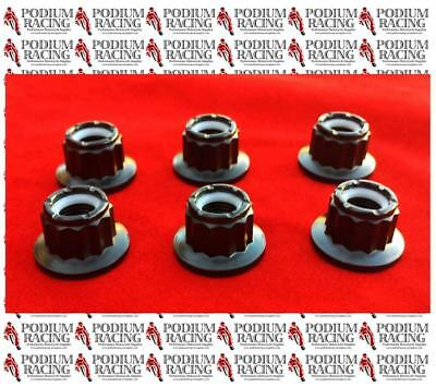 Ducati Black Titanium 12 Point Sprocket Nuts Set Of 6 Self-Lock Streetfighter