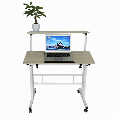 Wheel Mobile Table Desk Height Adjust Home Garden Office Caravan Potted Plan