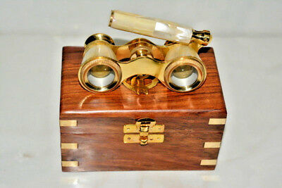Vintage Brass Mother-Of-Pearl-Binocular Opera Classic-Glasses W/ Wooden Box