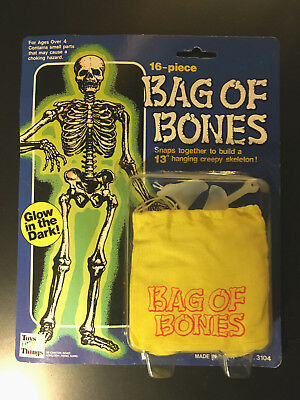 "Toys N' Things 16 Piece Bag of Bones 13"" hanging sleleton Glows in the dark MINT"