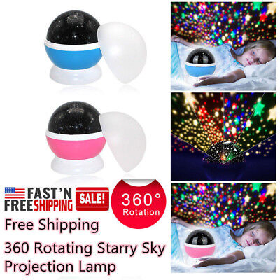 USB 360 Rotating Projector Starry Night Lamp Star Sky Projection LED Light Gift