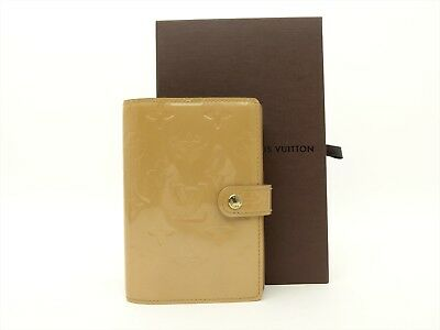Louis Vuitton Auth Monogram VERNIS Noisette Agenda fonctionnel PM Diary cover LV
