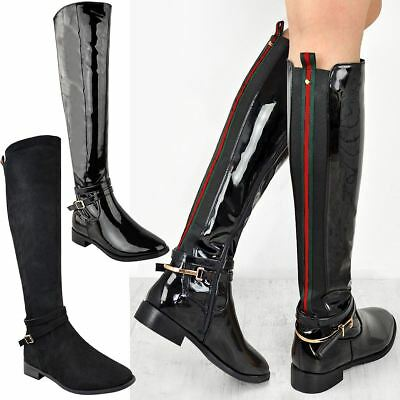 Womens Ladies Flat Stretch Knee High Riding Boots Grip Sole Winter Shoes Size UK