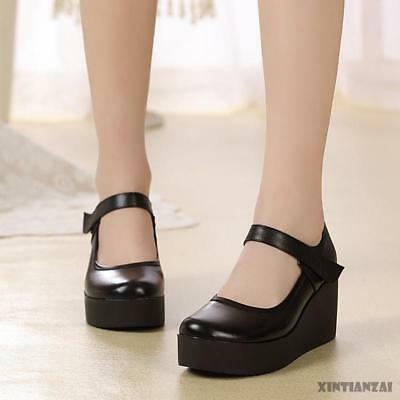 e47af02bf2f Vogue Womens Mary Jane Leather Black Nurse Round Toe High Wedge Heel Pumps  Shoes