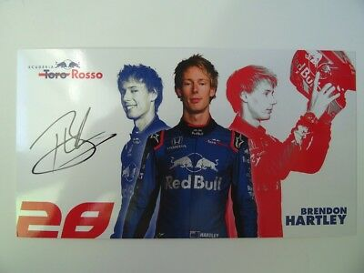 Brendon Hartley 2018 Scuderia Toro Rosso F1 Formula 1 signed card autograph