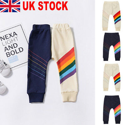 Baby Boy Girl Toddler Trousers Rainbow Leggings Cotton Kid Bottoms Pants Clothes