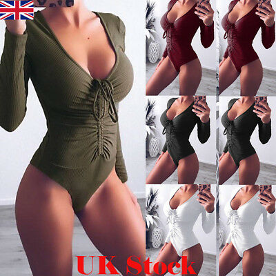 UK Womens Long Sleeve Bodysuit Stretch Ladies V Neck Leotard Body Tops Jumpsuit