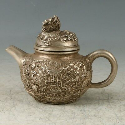 Chinese Copper Handmade Carved Double Dragon Teapot  W Daqing Mark