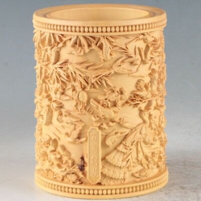 Chinese Boxwood Hand Carved  Niao Exquisite Brush Pot
