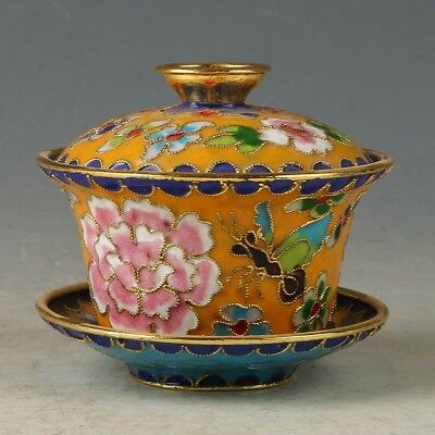 Chinese Cloisonne Handmade Flower & Butterfly Cup