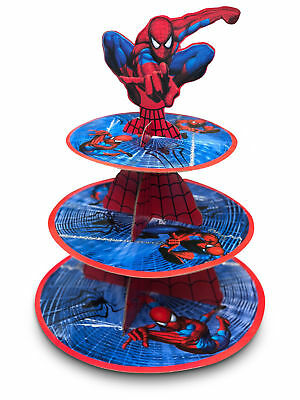 Spiderman 3-Tier Cupcake Stand Superhero Party Cup Cake Decorations Superman