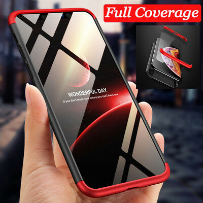 For iPhone Xs Max XR Shockproof Hybrid 360° Protective Case Cover +Temper Glass