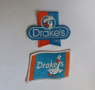 Vintage Drake's Cakes Bakery Patch Webster Duck Logo Advertising set of 2