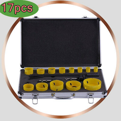 17pc bimetal hole saw kit hole cutter set for tradesmen19-76mm Aluminum suitcase