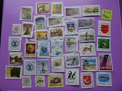 used stamps of Lithuania & Latvia / Lituania Lituanie - stamps on paper KILOWARE