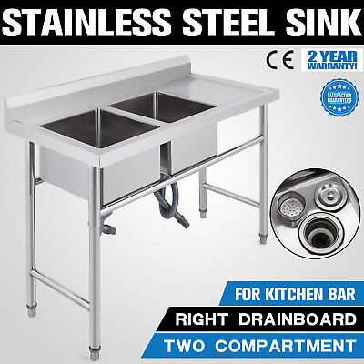 New 2 Two Compartment Commercial Stainless Steel Sink Wash Basin Table