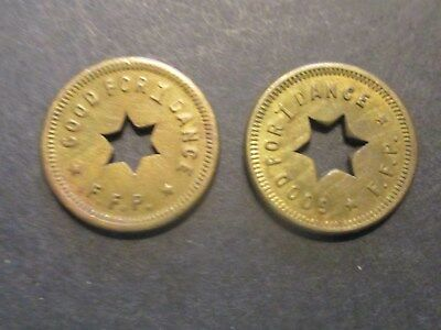 2 Original Fontaine Ferry Park Tokens: Good For 1 Dance Louisville, Ky