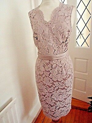 Jaques Vert   lace dress &  plain Jacket in  pale lilac   uk size 14