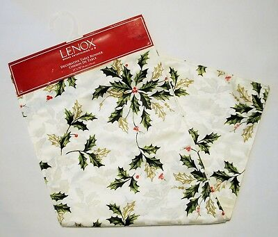 NWT Lenox Christmas Table Runner Fabric 14 x 70 Ivory Red Green Gold
