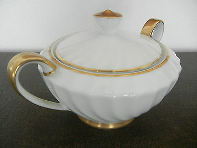 Vintage Japan LINDEN Fine China Fontana Covered Sugar Bowl Handles White Gold