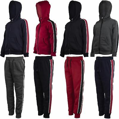 Kids Side Striped Outfit Girls Hooded Top or Joggers Boys Inner Fleece 3-14Years