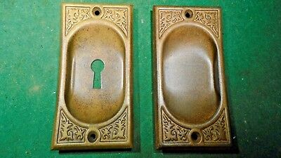 PAIR of POCKET DOOR PULL PLATES - CIRCA 1890-1900 - BRASS WASHED  (11129)