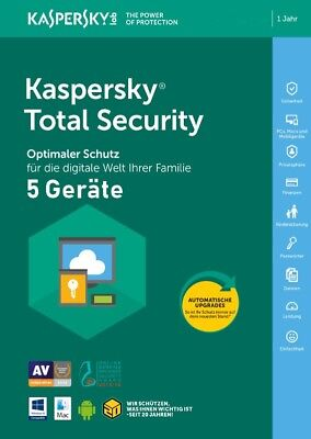 Kaspersky Total Security 2020 5 PC 1Jahr VOLLVERSION / Upgrade 2019 DE-Lizenz