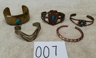 5 Vintage Native American Pawn Jewelry Lot Copper Brass Turquoise Cuff Bracelet