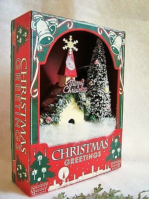 Vintage Christmas Village Church Scene Lighted Paper Shadow Box Bristle Tree NEW