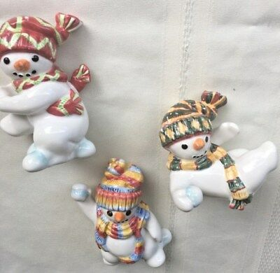 Vintage Fitz And Floyd Tumbling Snowmen Throwing Snowballs Set Of Three *Reduced