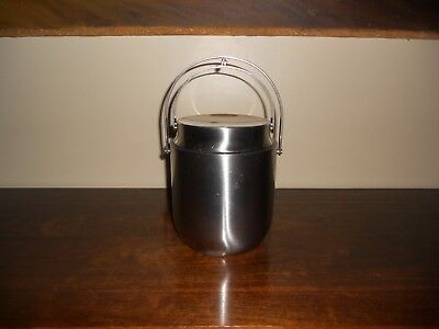 Mid century Alessi stainless steel ice bucket w/ cantilever closing lid Italy