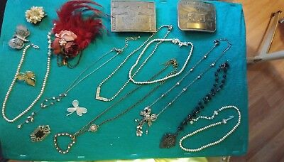 Huge lot of 16 vintage antique jewelry and belt buckles