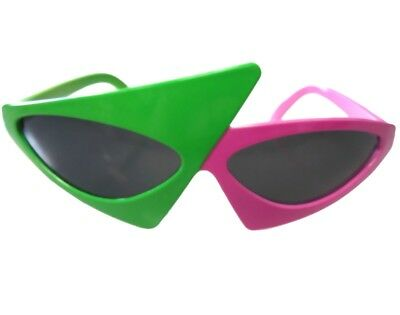 Awesome 80's Asymmetric Roy Purdy Sunglasses Glasses Neon Green and Hot Pink