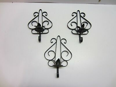 Vtg Mid Century Spanish Gothic Wrought Iron Wall Mount Hanging Candle Holders