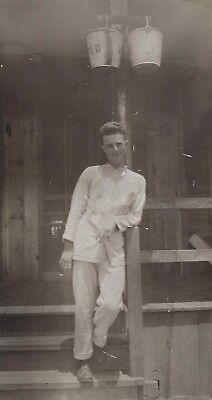 OLD VINTAGE PHOTO of WWII SAILOR ? AS HOUSEBOY ON JAPANESE ISLAND JAPAN