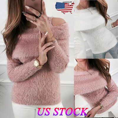Fashion Women Winter Off Cold Shoulder Sweater Ladies Pullover Jumper Tops Size