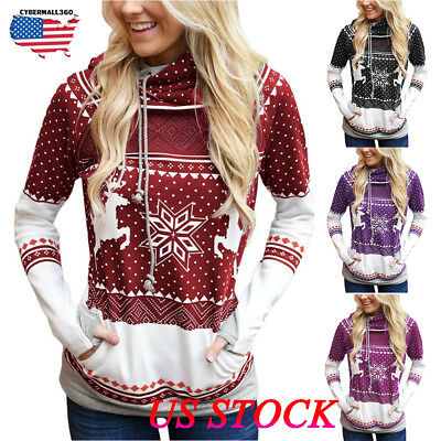 Women Ladies Christmas Jumper Sweatshirt Hoodies Winter Pullover Blouse Top Xmas
