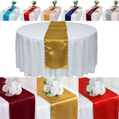 20pcs Satin Table Runner Wedding Party Banquet Rectangular and Round Tablecloth
