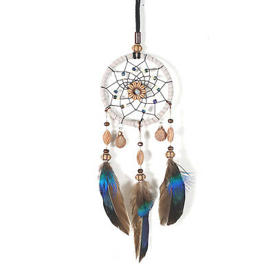 Mini Dream Catcher For Car Beaded Natural Feathers And Handmade V6M3