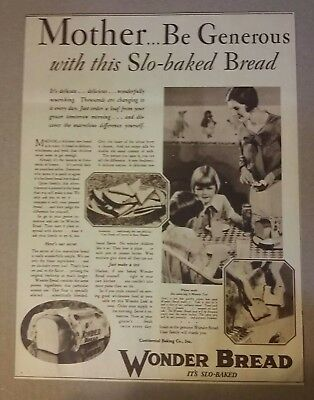1928 Wonder Bread Ad Mother Be Generous