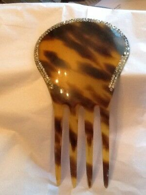 Vintage Faux Tortoise Shell Large Hair Comb Rhinestones Assessory 6""