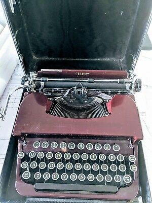 Vintage 1930's Smith Corona Silent Typewriter Maroon Outer Shell-WONDERFUL RARE!