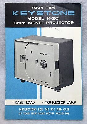 KEYSTONE 8MM MOVIE Projector Instruction Manual Book for Model K - 301  Complete