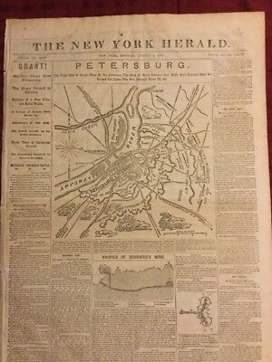 Civil War - Petersburg Front Page Map - 1864 New York Herald Newspaper