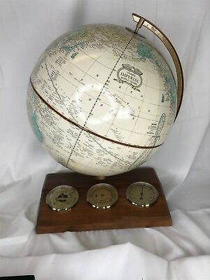 "Vintage Cram's 12"" Imperial World Globe - w Barometer Hygrometer and Thermometer"